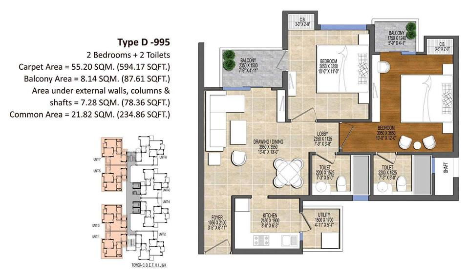 Ace Divino Floor Plan 995 SQ.FT.