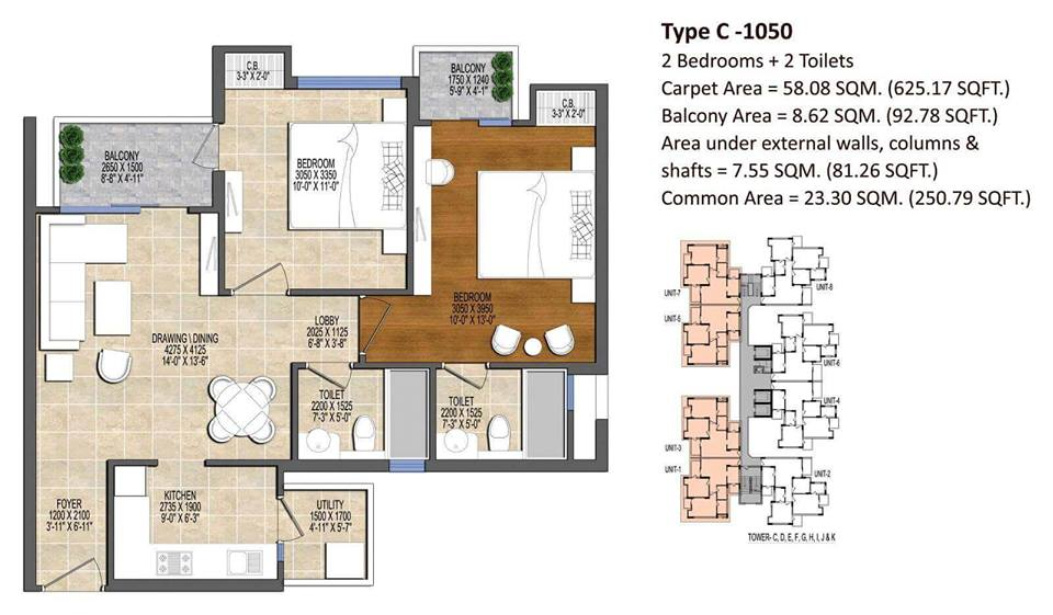 Ace Divino Floor Plan 1050 SQ.FT.